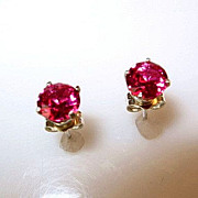 Estate 2.10ct Ruby and Sterling Silver Stud Earrings
