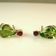 SALE Estate 1.90ct Peridot and Ruby Sterling Silver Stud Earrings