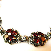 SALE Victorian Style 13.44ct Garnet Sterling Silver Bracelet