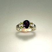 SALE Estate 1.25ct Amethyst and Peridot Sterling Silver Ring