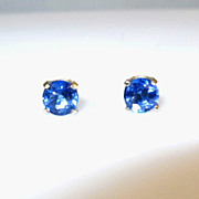 SOLD 1.30ctw Cornflower Blue Sapphire and 14K white Gold Earrings
