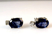 SALE Estate 2.06ctw Sapphire and Diamond 14K Gold Stud Earrings