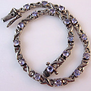 SALE 2.16ctw Tanzanite and Sterling Silver Line Tennis Bracelet.