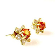 1.64ctw Mandarin Garnet and Diamond 14K Gold Cluster Earrings