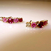 SALE .88ctw 14K Gold Ruby Pink Sapphire and Diamond Post Earrings
