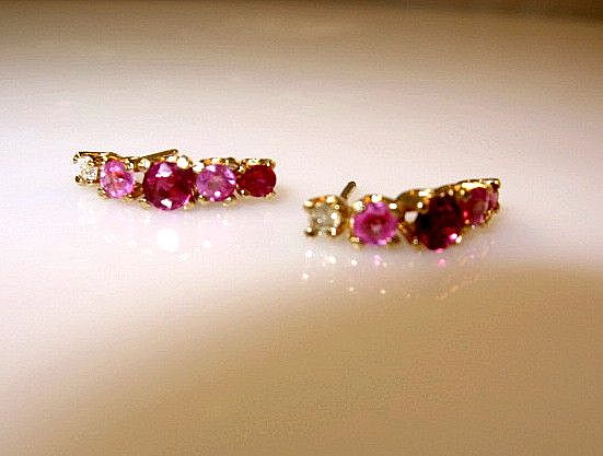 .88ctw 14K Gold Ruby Pink Sapphire and Diamond Post Earrings