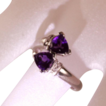 1.59ctw 14K White Gold Trillion Cut Amethyst and Diamond Bypass Ring