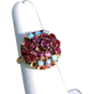 3.32ct Opal and Ruby 14K Gold Princess Ring