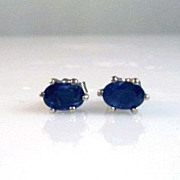 1.20ctw Blue Sapphire 14K White Gold Post Earrings