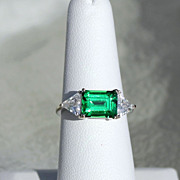 Natural Unheated 3.90ctw Green Zircon 14K White Gold Ring