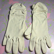 White Nylon Gathered Vintage Ladies Gloves