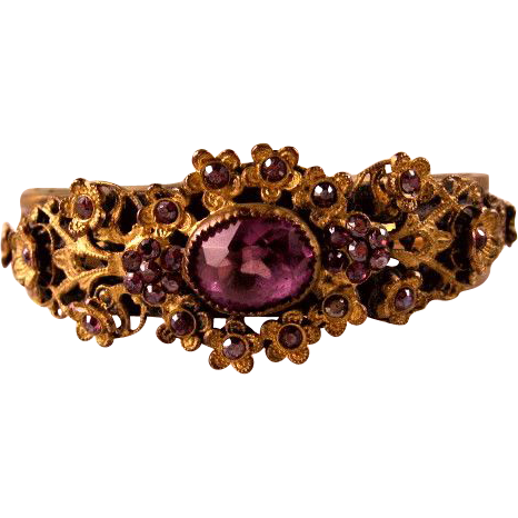 Awesome Old Amethyst Rhinestone Brass Bangle Bracelet