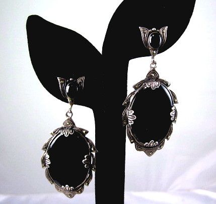 Art Deco Style Black Onyx Marcasite Sterling Silver Dangle Earrings