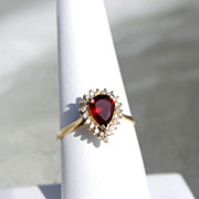 Garnet and Diamond 1.10ctw 14K Gold  Ladies Ring