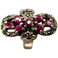 Art Deco Style Marcasite 1.90ctw Ruby Knuckle to Knuckle Ring