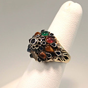 18K Gold Multi-Gemstone Thai Harem Princess Ring