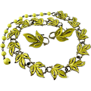 Lovely Coro Yellow Enamel Leaf Necklace and Earring Set
