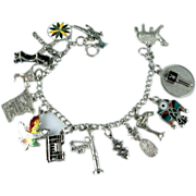 Sterling Silver Charm Bracelet with 15 Charms