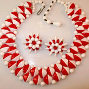 Retro Style West Germany Red and White Glass Necklace and Earring Set