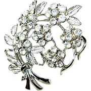 Vintage Coro Rhinestone Flower Pin Circa 1940's
