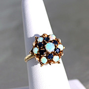 2.01ctw Blue Sapphire and Opal 14K Gold Ring