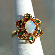 1.02ctw Crystal Opal and Green Tourmaline 14K Gold Ring