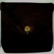 Vintage Dark Brown Suede Handbag Purse