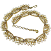 Trifari Gold Plated Pearl and Rhinestone Necklace