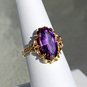 Russian 3.70ctw 14K Gold Synthetic Purple Sapphire Ring