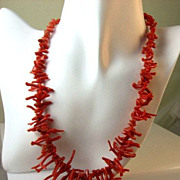 SALE Rare Red Branch Coral Fringe Princess Length Necklace