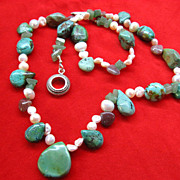 Pearl Sterling Silver and Turquoise Necklace