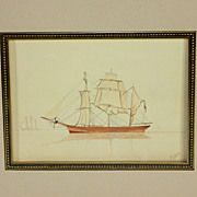 British School- Pen and Watercolor Drawing of Sailing Ship entitled Becalmed.