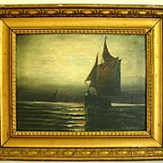 19th Century Oil on Canvas �Moonlit Sail� by Listed Artist Andrew Millrose