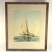 Watercolor of a Sailboat by Albert Bross Jr. (American 1921-)