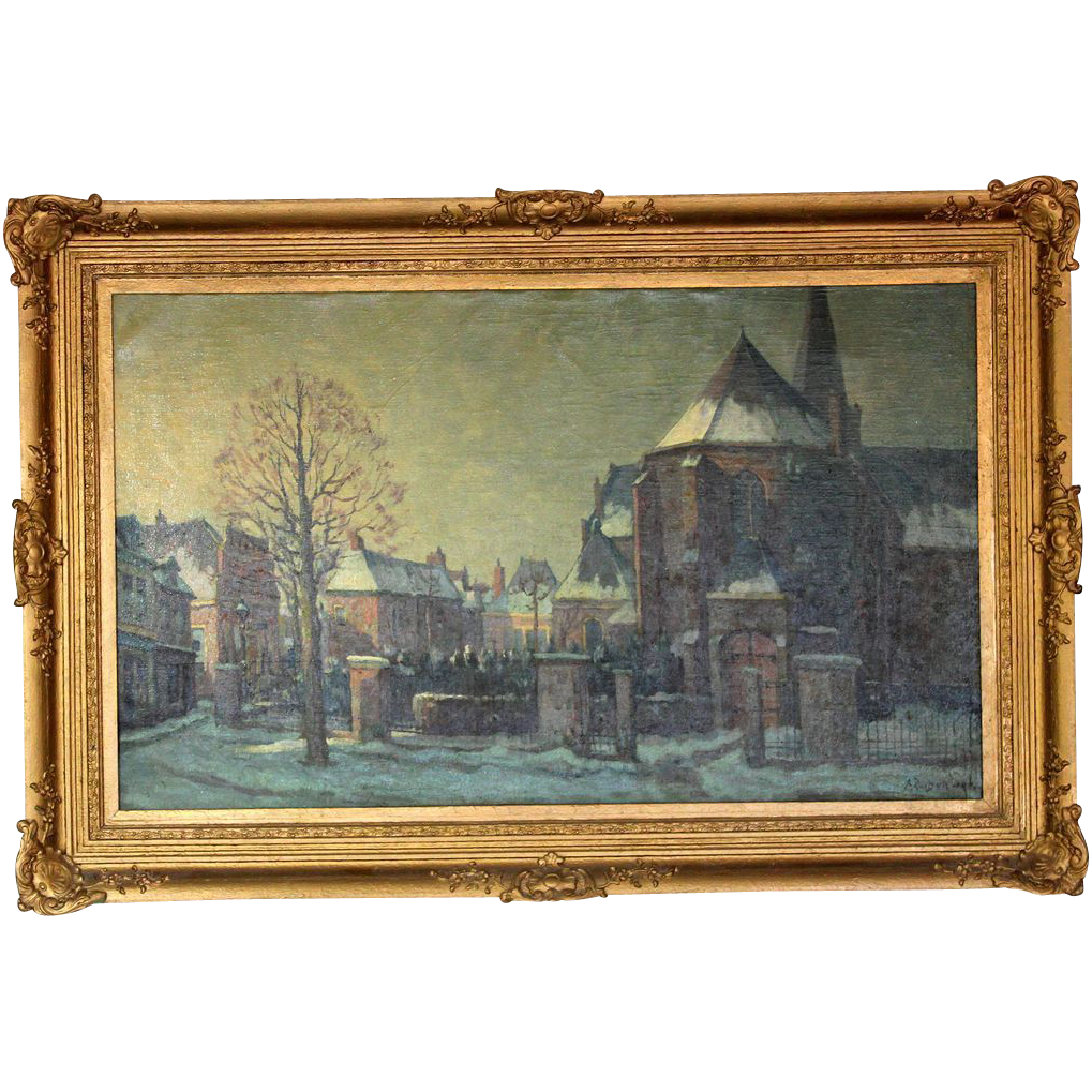 Original Oil Painting by Listed Artist Adrianus Zuiderwijk, Snowy Village in Holland