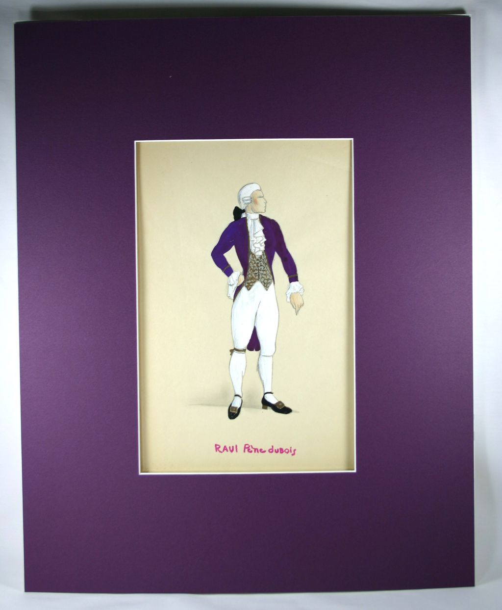 Original Costume Drawing of a Man in a Purple Coat by Raoul Pene Du Bois