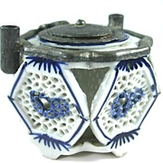 Unique Chinese Import Reticulated Porcelain Ink Well with Pewter Top