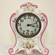 Small Pink and White Porcelain Mechanical Alarm Clock