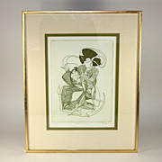 Pencil signed/numbered D. Eder lithograph, Rocking Geisha