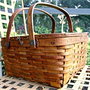 19th C New England Swing Handle Lidded Oak Splint Basket, Lunch box