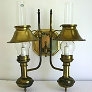Vintage Double Brass Bouillotte Lamp, Sconce