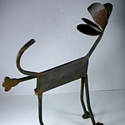 Super Cute Primitive Garden/Folk Art Metal Dog