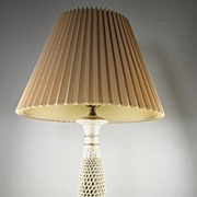 Ivory Colored Open-worked Italian Porcelain Table Lamp with Stiffel Shade