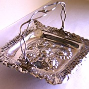 Fabulous Chased Flowers Silver Plate Brides Basket