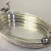Fantastic Extra Large Silver Plate Fish Server with Glass Insert