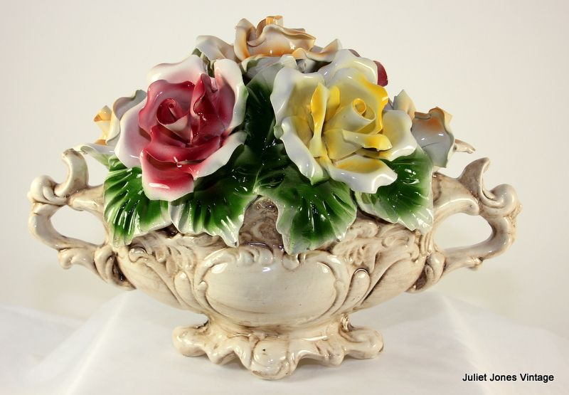 Cheerful Capo Di Monte Center Piece Flower Basket From