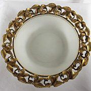 Unusual Bronze Dore Bordered Glass Bonbon Dish
