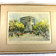 Impressionist Watercolor of the Arc de Triomphe in Paris
