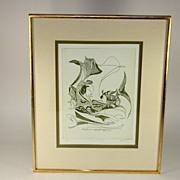 Pencil signed/numbered D. Eder lithograph, Vis a Vis