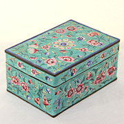 Antique turquoise cloisonne trinket box, lovely color